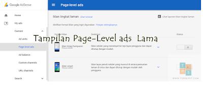 cara membuat iklan page level ads
