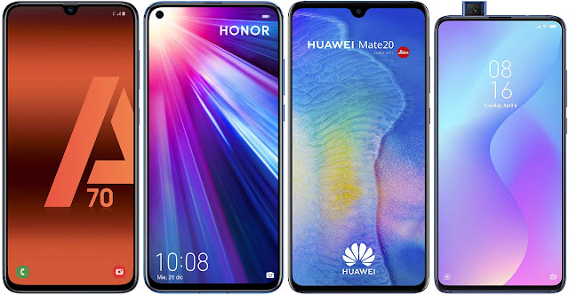 Samsung Galaxy A70 vs Honor View 20 128 GB vs Huawei Mate 20 vs Xiaomi Mi 9T