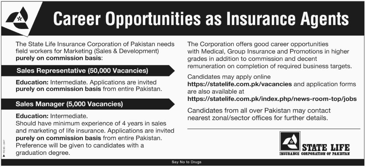 55000+Vacancies State Life Insurance