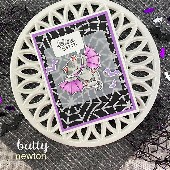 Feline Batty Card by Jennifer Jackson | Batty Newton Stamp Set, Spiderweb Stencil, Frames Squared Die Set and Speech Bubbles Die Set by Newton's Nook Designs #newtonsnook #handmade