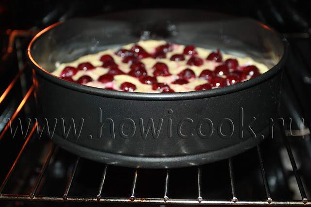рецепт пирога с вишней на сметане с пошаговыми фото