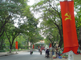 Independence Day Flag of Vietnam in park. Ho Chi Minh City (Vietnam)