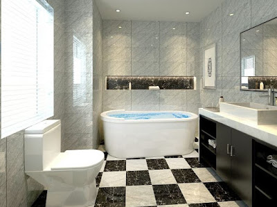 Checker floor tiles for unique bathroom ideas with black vanity marble top