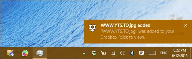 DropBox Notification For Windows 10 ScreenShot