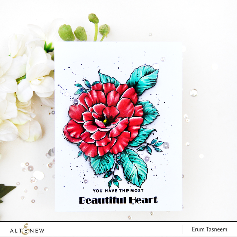 Altenew Beautiful Heart Stamp Set | Pencil Colored | Erum Tasneem | @pr0digy0