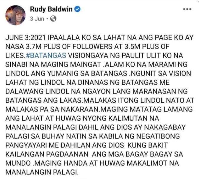 Did Rudy Baldwin predict the July 24 earthquake in Batangas?
