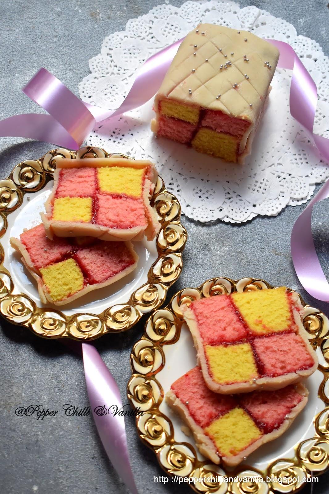 easy battenberg square cake