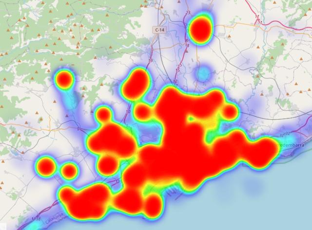 Mapa de calor de les meves estades: Costa de Catalunya