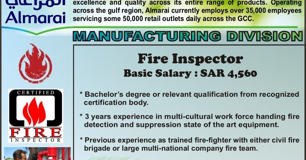 Fire Services Jobs in Almarai-Saudi Arabia   Gulf Job Hunt (UAE ...