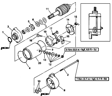 circuitsmag: 2000 Yamaha GP1200 Starter Motor Exploded