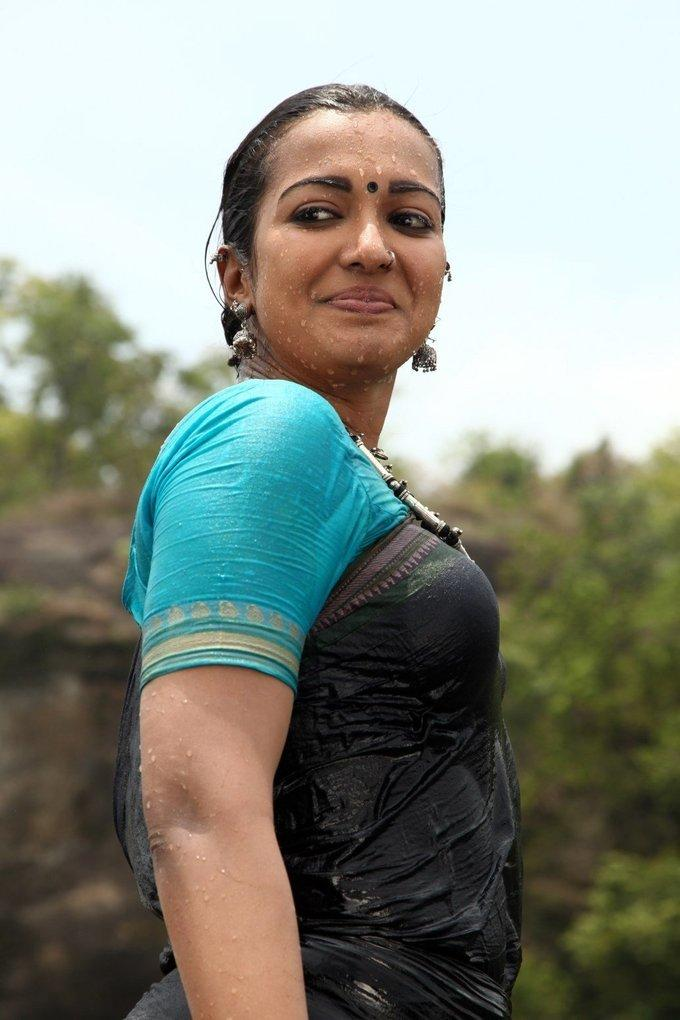 Tollywood Actress Hot Stills In Wet Black Saree Catherine Tresa