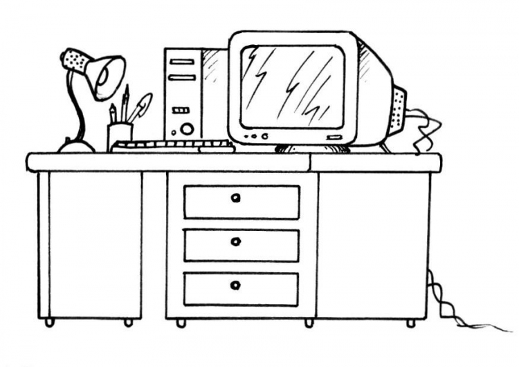 Desk coloring pages ~ Coloring Computer Desk Coloring Pages