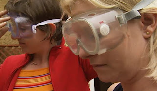 Dilys and Ann-Marie wear goggles