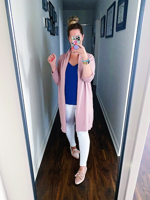 blush cardigan outfit fall, cobalt blue cami outfit