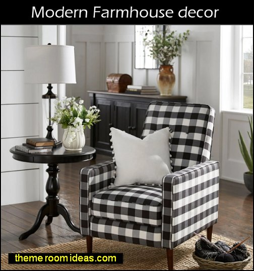 modern farmhouse decor Check Plaid Accent Chair country farm decorating