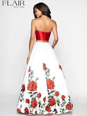 Sweetheart Flair Two pieces Prom ivory-red dress back side
