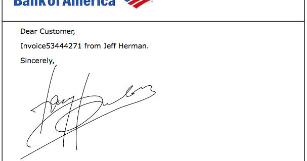 Scam : Invoice Jeff Herman