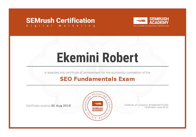 SEMrush SEO Fundamentals Certificate