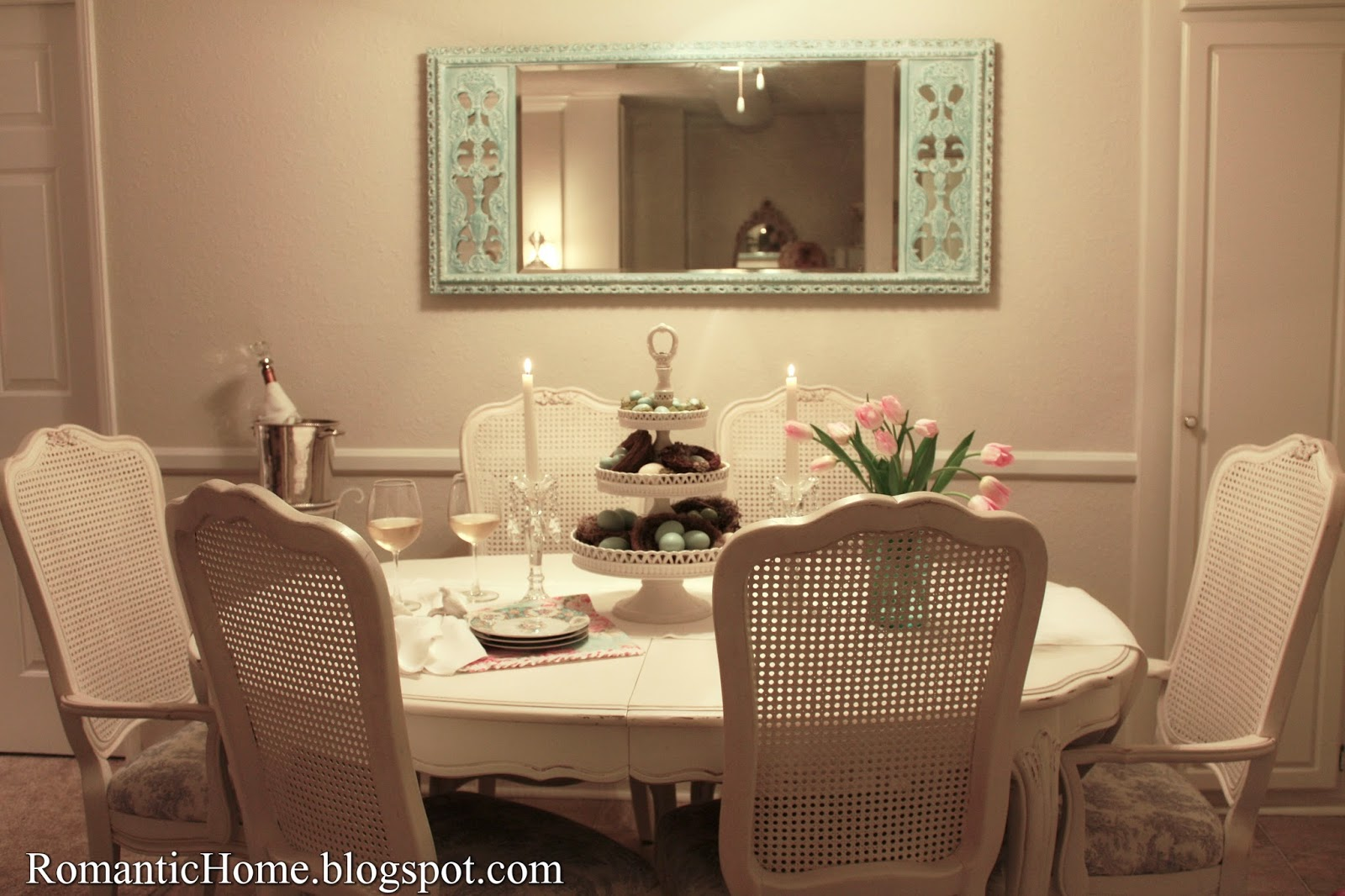 My Romantic Home Spring Dining Room And A Mirror Makeover Show
