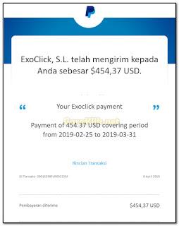 Bukti Pembayaran Exoclick Bulan Januari, Februari, Maret, April, Mei 2019