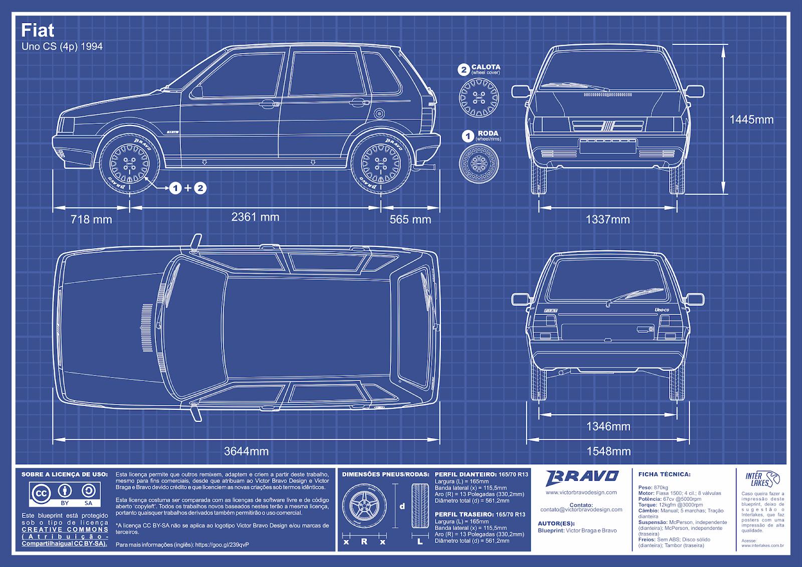 Imagem mostrando o desenho do blueprint do Fiat Uno CS (4p) 1994