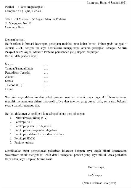 Contoh Surat Lamaran Kerja Untuk Admin Project (Fresh Graduate)
