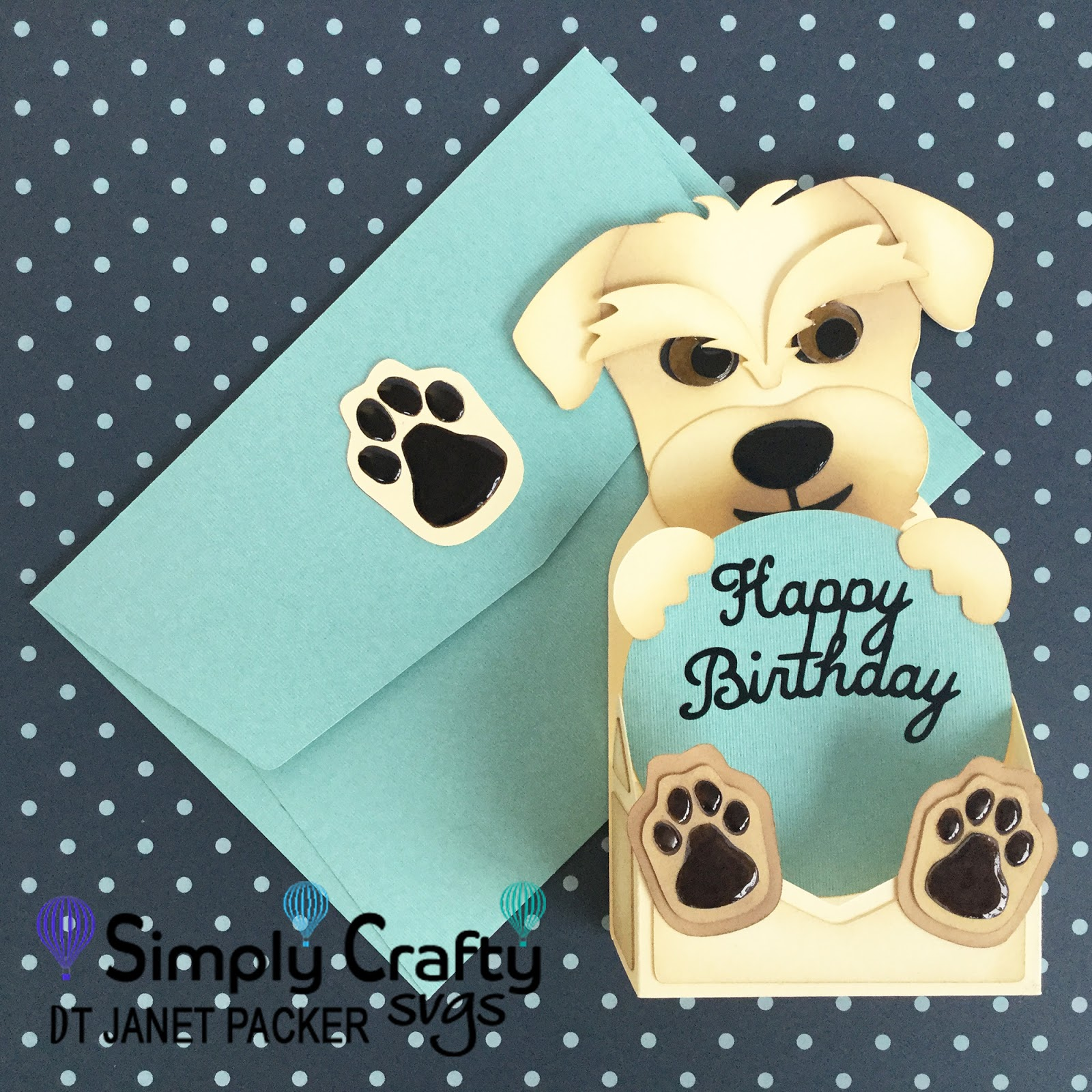Dog Hybrid Birthday Card Using The FREE Envelope File