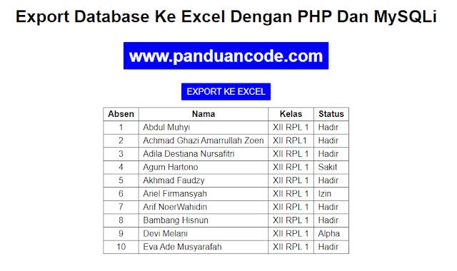 Cara Export Database Ke Excel Dengan PHP Dan MySQLi