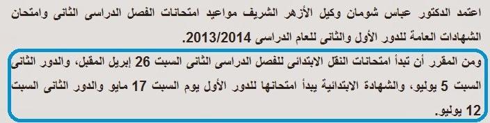 مواعيد امتحانات النقل للشهاده الابتدائيه الازهريه 2014 فصل دراسى ثان