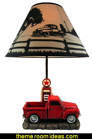 Classic Vintage Pickup Truck with Gas Pump Table Lamp
