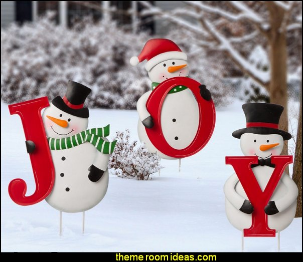 JOY Snowman Yard Stake christmas deccorations outdoor christmas decorations