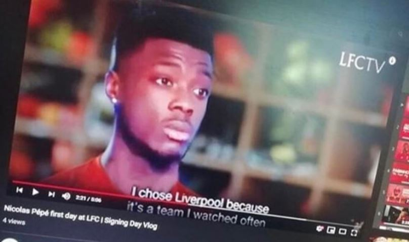 Supposed-screen-shot-of-leaked-LFC-video-with-Nicolas-Pepe-interview