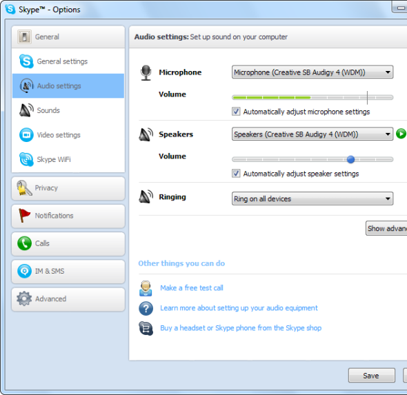 Skype Audio Setting step 1