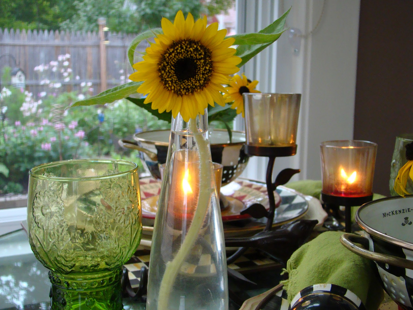 This solitary sunflower inspired our table setting this week. In May several sunflower seeds were sowed in our backyard and the squirrels did a happy ... & MACKENZIE-CHILDS TABLESCAPE AND THE SOLITARY SUNFLOWER - Mountain ...