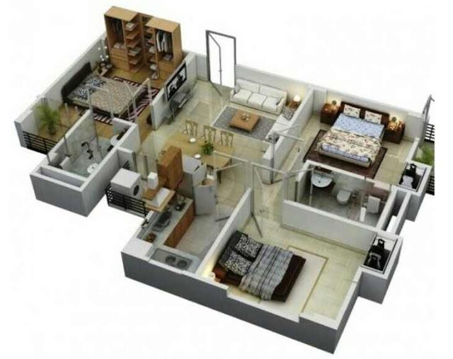Denah rumah type 60 dengan 3 kamar tidur
