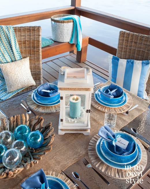 Beach Ocean Blue Table Setting Lantern