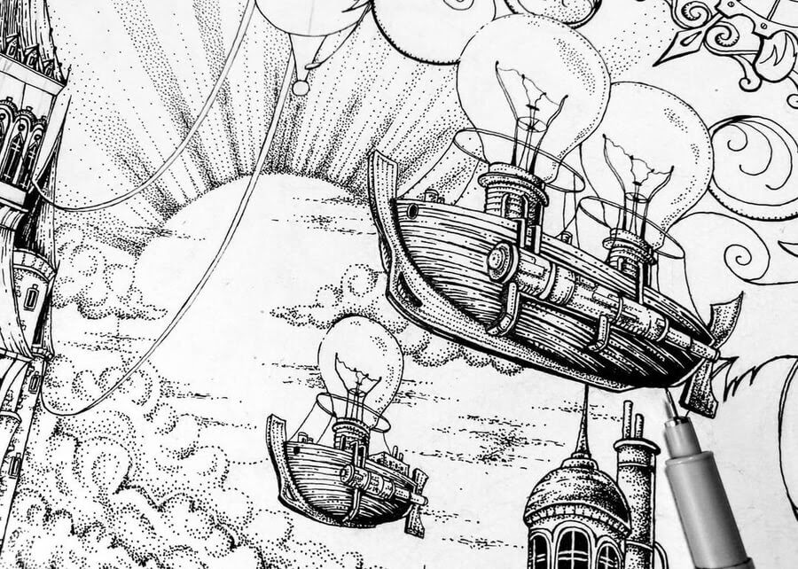 02-Steampunk-clock-tower-detail-Zakrii-www-designstack-co