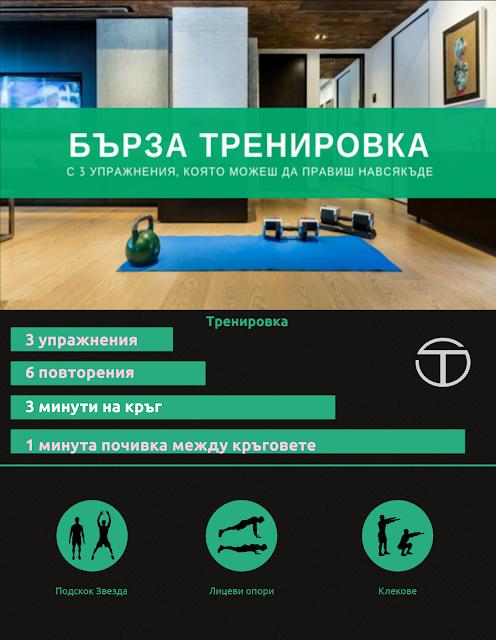 Инфографика-Бърза Тренировка с 3 упражнения, която можеш да правиш навсякъде