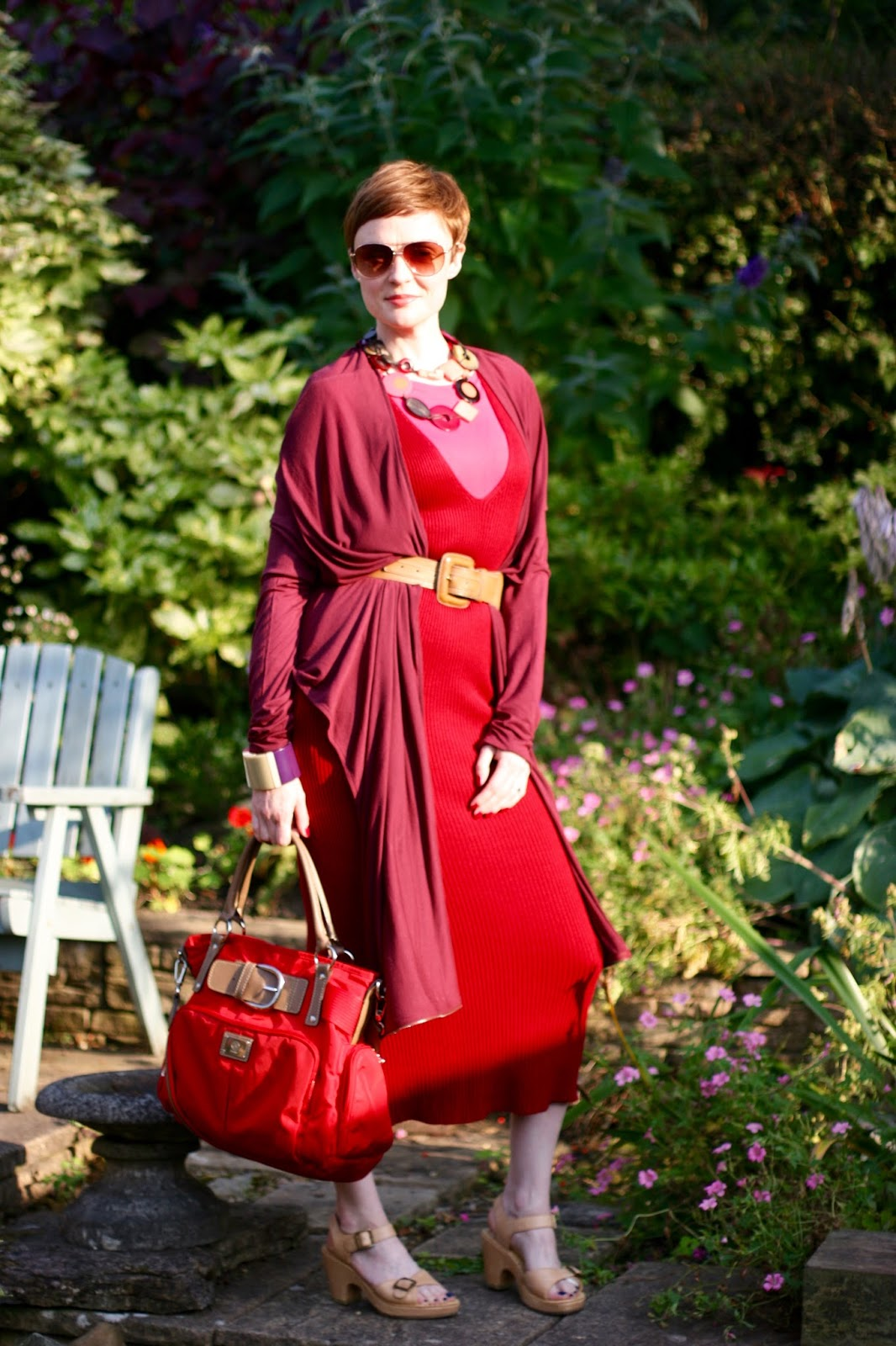 AW15 Wearing red and pink head to toe, layering.