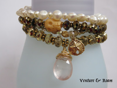 Pearls, Pink Quartz, Swarovski crystal bead bracelets, stacked bracelets - Venture & Roam