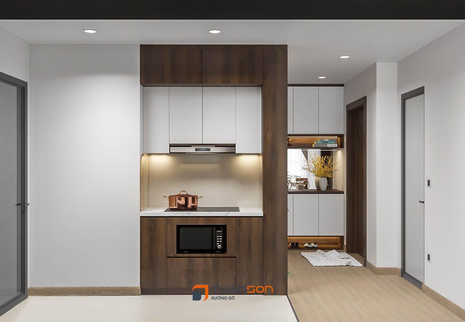 Thiết kế nội thất phòng bếp căn 3 phòng ngủ IEC Thanh Trì