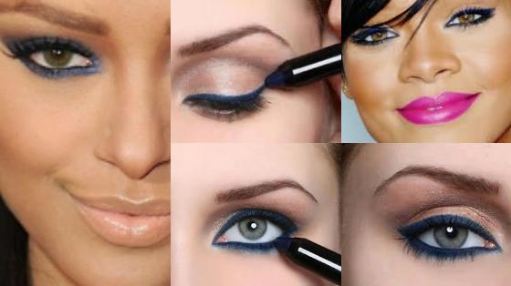 maquiagem com lapis azul marinho