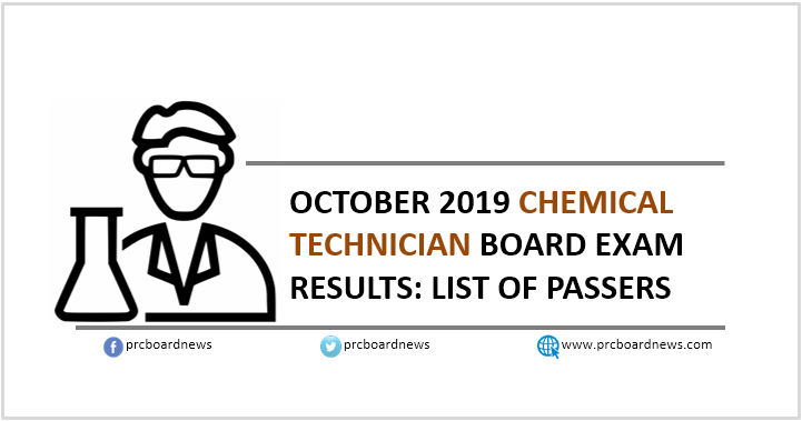 RESULT: October 2019 Chemical Technician board exam list of passers