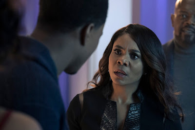 Maya (Regina Hall) questions John Shaft Jr. (Jessie T. Usher) in a movie still for the latest Shaft film