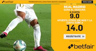 betfair supercuota doble liga Real Madrid gana Osasuna 9 febrero 2020