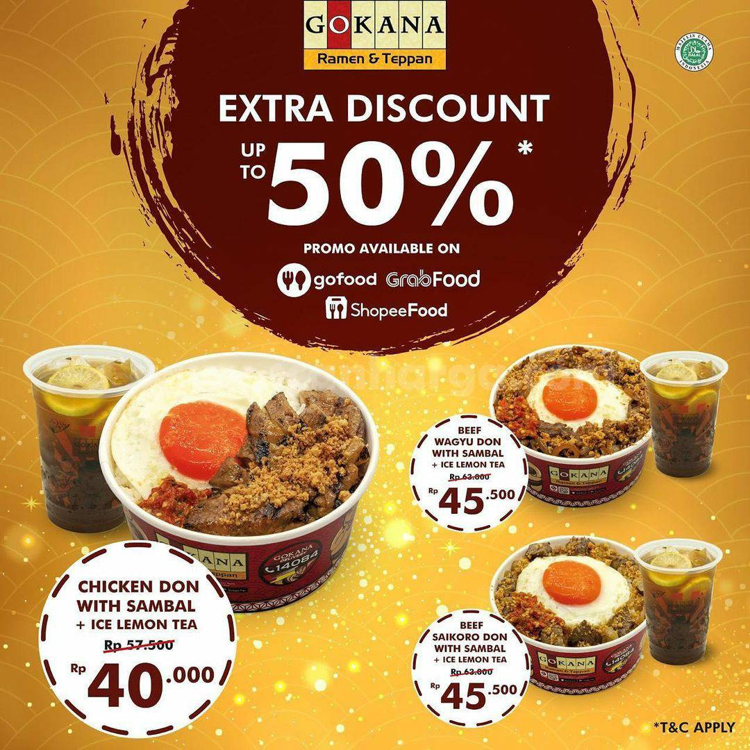 Promo GOKANA Extra DIscount Up To 50% Available on GOFOOD & GRABFOOD