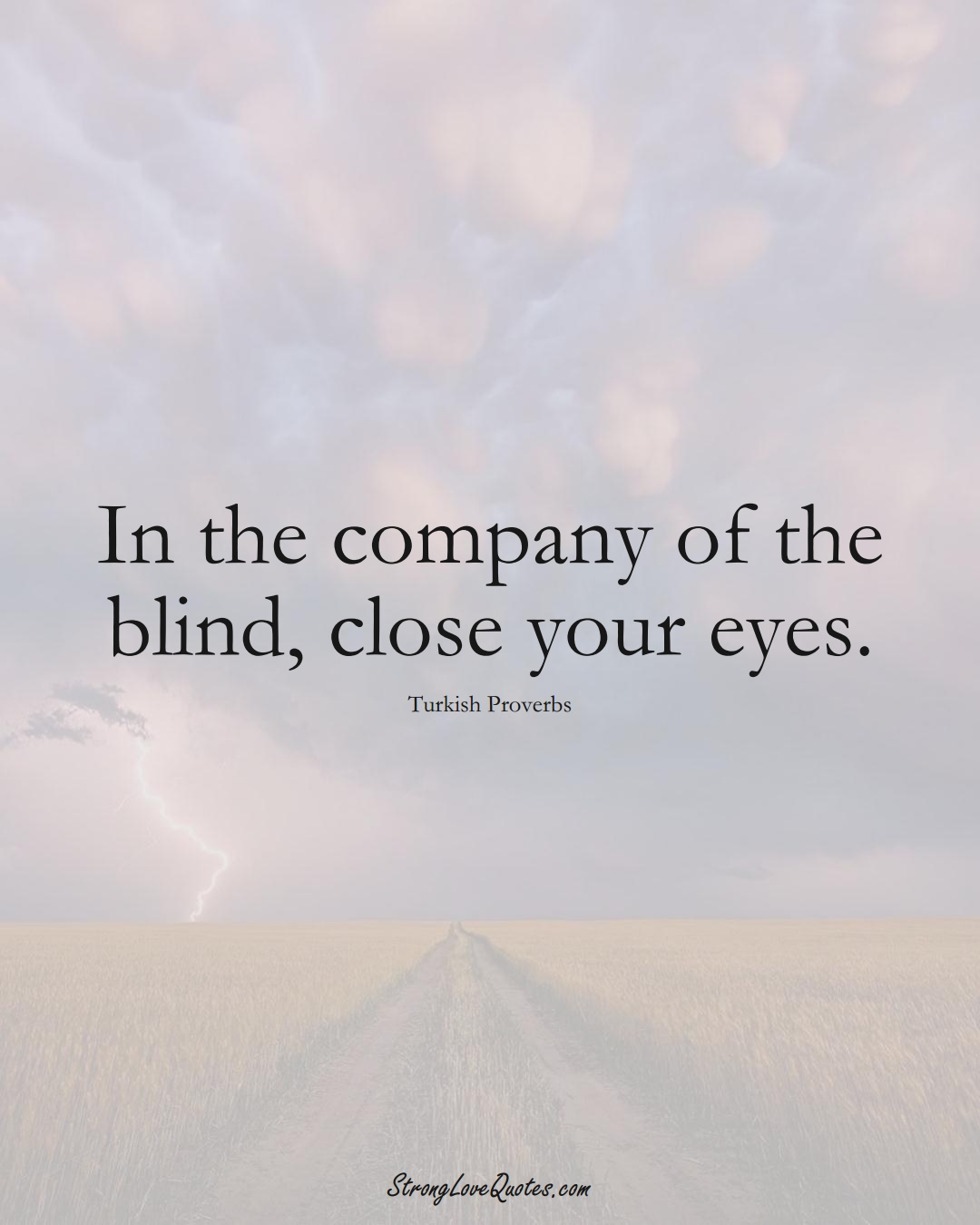 In the company of the blind, close your eyes. (Turkish Sayings);  #MiddleEasternSayings