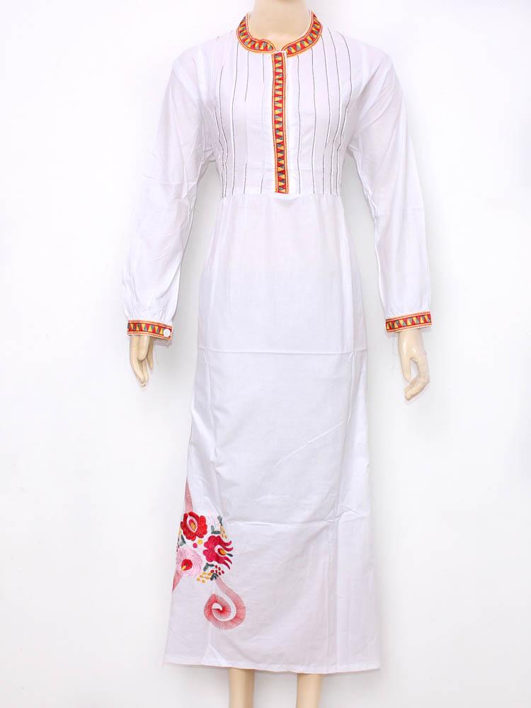 model gbaju gamis muslimah putih bahan katun