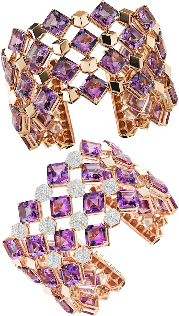 Paolo Costagli 18ct rose gold Very PC® bracelets set with emerald-cut amethyst & diamonds #brilliantluxury