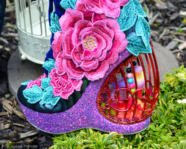 Irregular Choice Maya boot glitter platform and birdcage heel detail